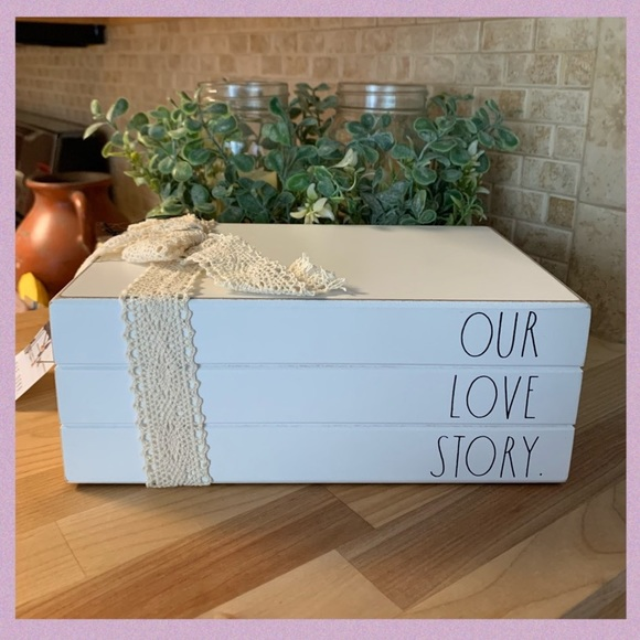 """RAE DUNN """"OUR LOVE STORY"""" WHITE WOOD BOOK STACK"""